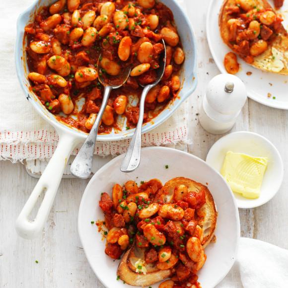 Smokey Butter Beans with Tomato and Chorizo