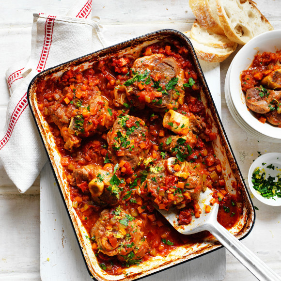 Slow-Baked Veal Shanks in Tomato Sauce