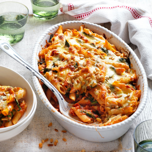 Creamy Tomato, Spinach and Pine Nut Bake Recipe made with Ardmona
