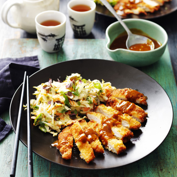 Katsu Pork with Pear and Carrot Slaw