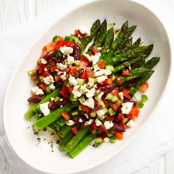 Asparagus with Greek Salad Dressing