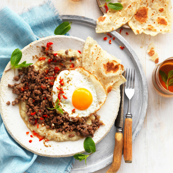 Baba Ghanoush Recipe with Spiced Lamb and Eggs World Egg Day 2020