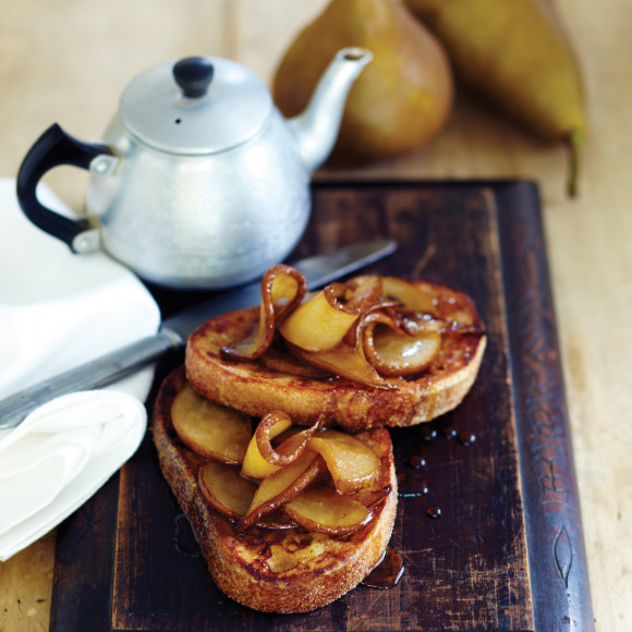French Toast with Caramelised Beurre Bosc Pears and Maple Syrup
