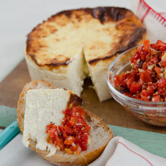 Baked Ricotta with Capsicum Sauce