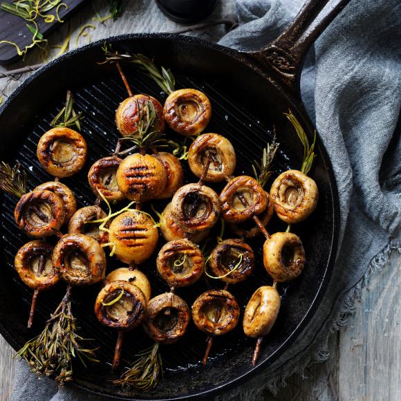 BBQ Mushroom Skewers with Rosemary Gremolata