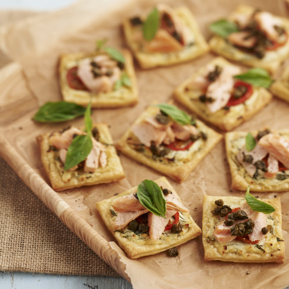 Basil Ricotta Tartlets with Smoked Trout