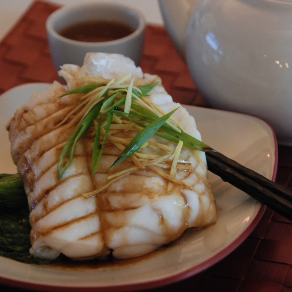 Steamed Blue Eye Cod with Julienne Ginger and Spring Onion Sauce