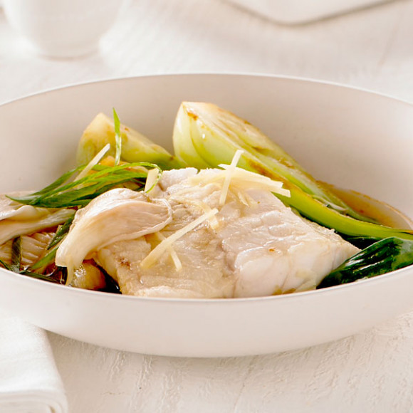 Steamed Fish with Ginger & Oyster Mushrooms