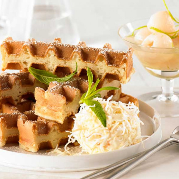 Coconut, Lime Zest and Lychee Syrup Waffle