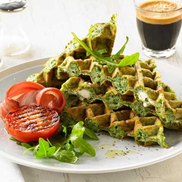 Danish Feta and Spinach Waffle