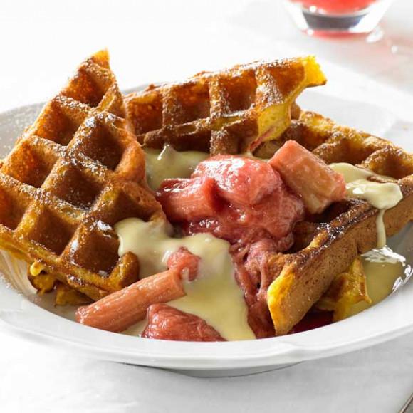 Poached Rhubarb and Vanilla Custard Waffle