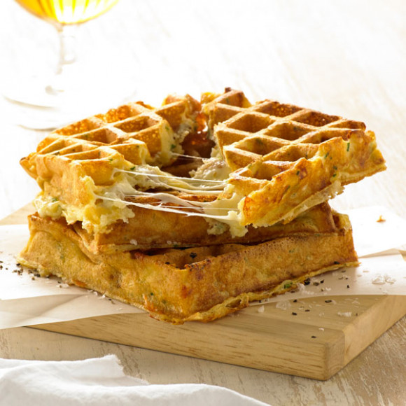 Three Cheese Souffle Waffle Recipe | myfoodbook