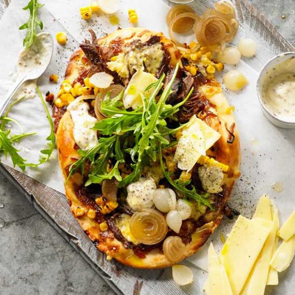 Beef Brisket, Toasted Corn & Whole Grain Mustard Pizza