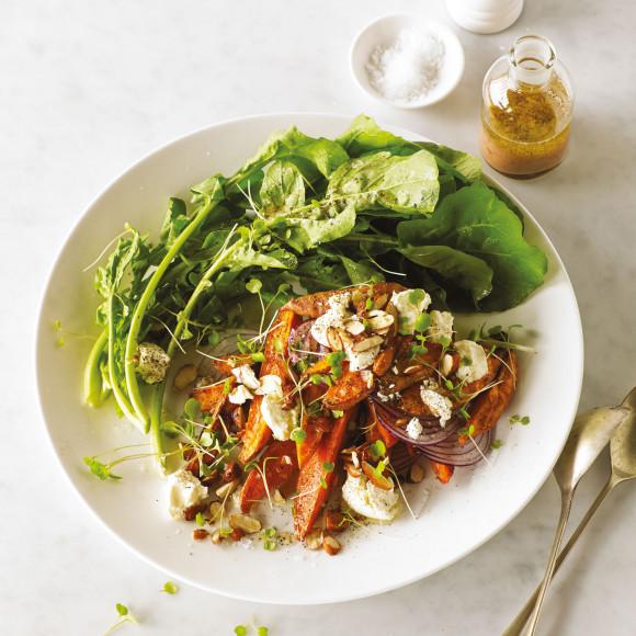 Sweet Potato, Feta, Toasted Tamari Almond Salad