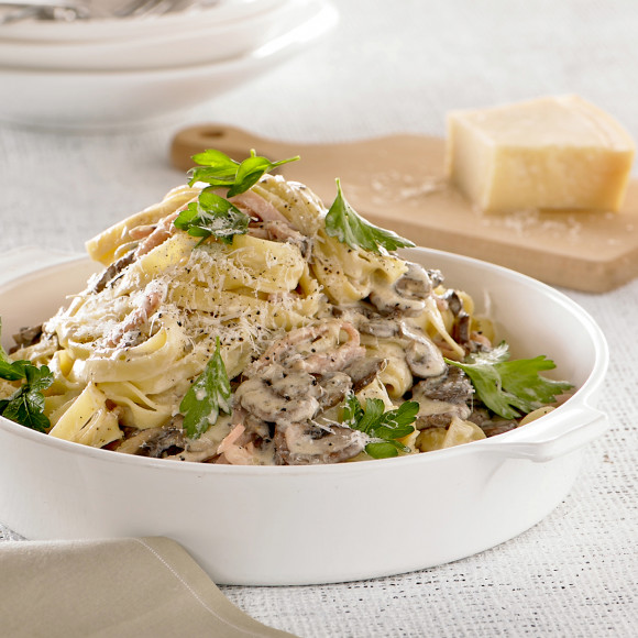 Fettuccine With Bacon And Mushrooms