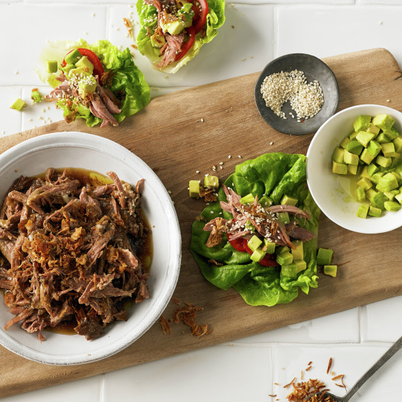 Pulled Lamb recipe served in Lettuce Boats