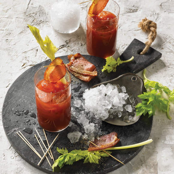 Smoky Bloody Mary with Celery Heart and Smoked Bacon