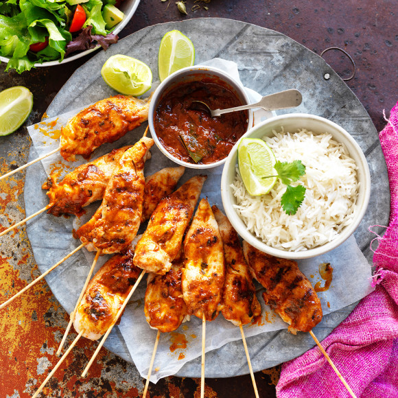 Butter Chicken Skewers With Salad Recipe Myfoodbook Best Butter Chicken Skewers Recipe