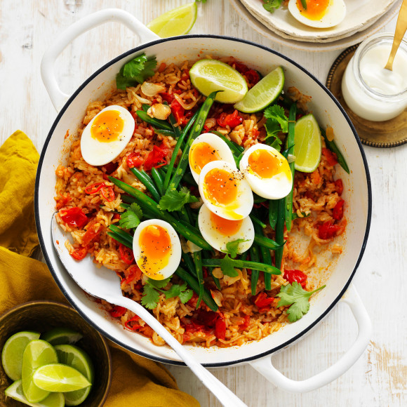 Tomato and Ginger biriyani with Eggs
