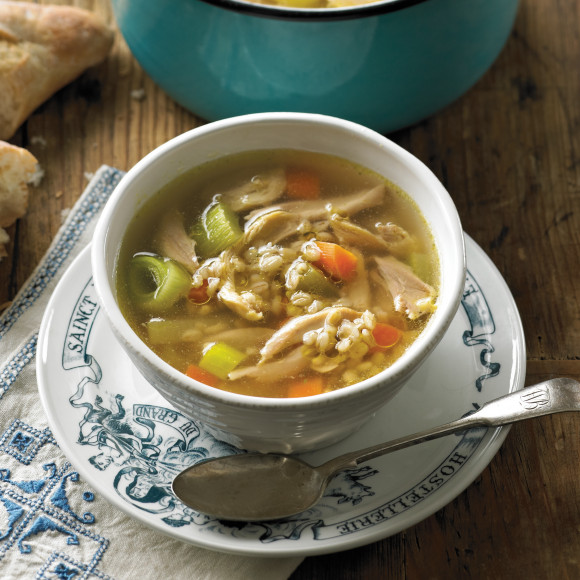 Winter Chicken and barley soup