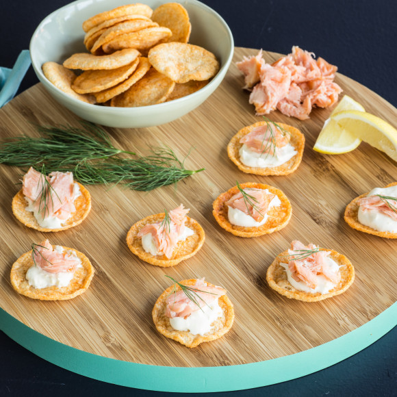 Hot Smoked Salmon and Lemon Spread on Cobs Sweet Chilli and Sour Cream Hip Chips