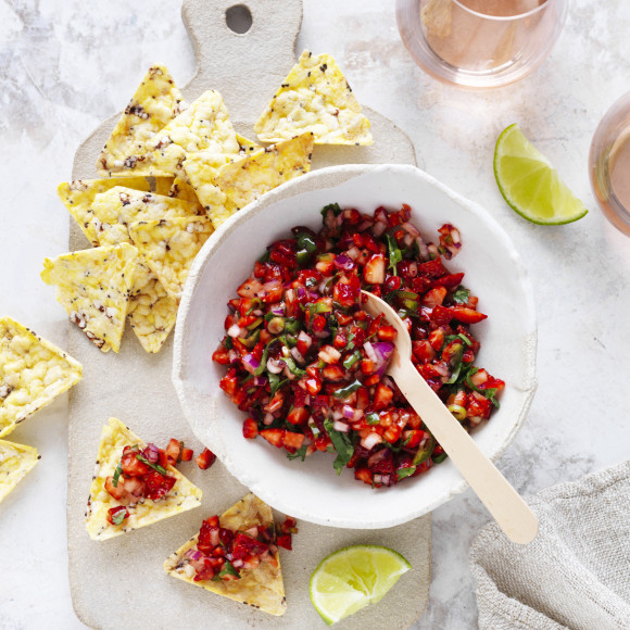 Mexican Corn Chip recipe with Strawberry and Jalapeno Salsa