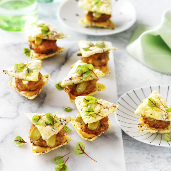 Crumbed fish pieces Corn Chip Sliders