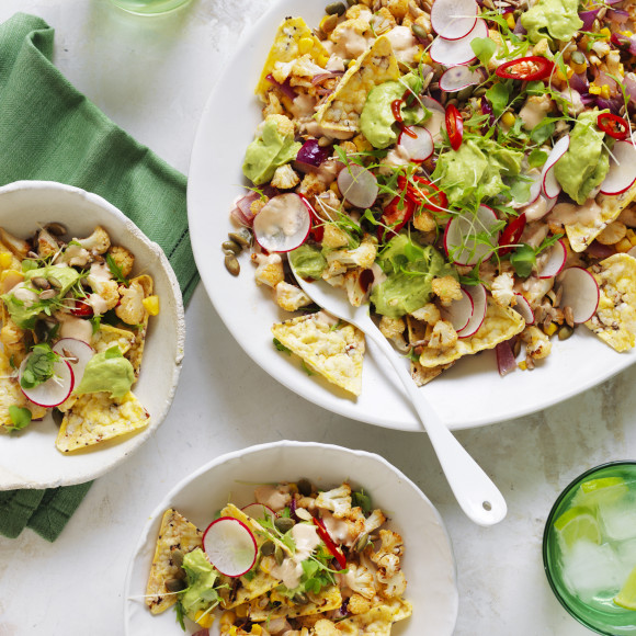 Chilli and Lime Roasted Cauliflower Nachos