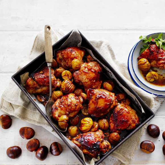 Easy Roasted Asian-Style Chicken with Chestnuts Recipe