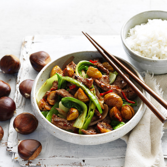 Chestnut, Beef and Bok Choy Stir-Fry