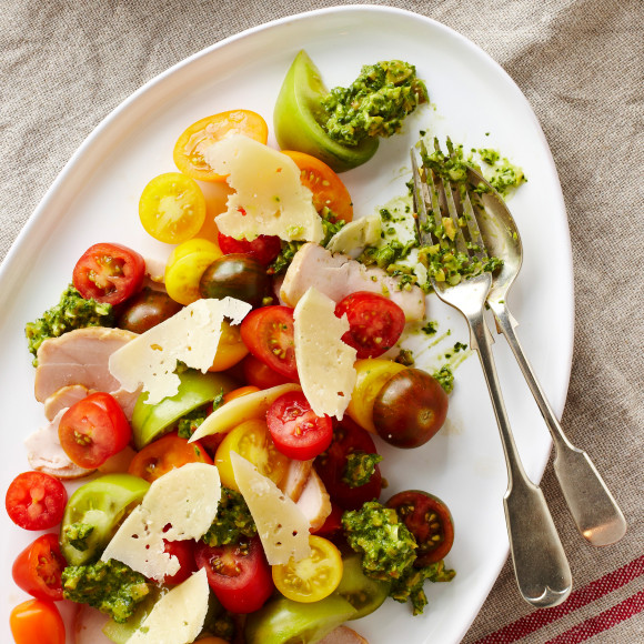Smoked Chicken And Tomato Salad With Green Olive Salsa Recipe Myfoodbook