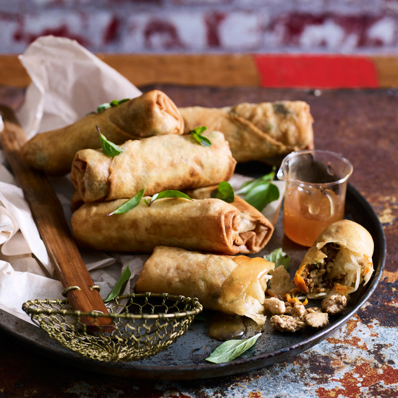 Chicken Spring Rolls with Plum Sauce