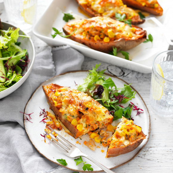 Make this stuffed sweet potato recipe with corn and tuna as a family dinner idea that kids will love