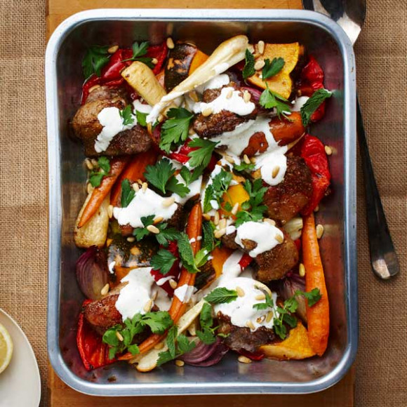 Spiced Lamb and Winter Vegetable Tray Bake with Yogurt, Pine Nuts and Herbs