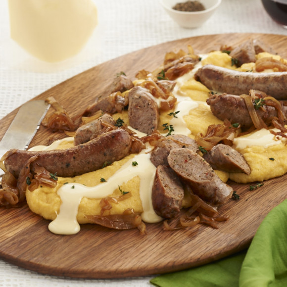 Italian Sausages, Cheesy Polenta and Caramelised Onions