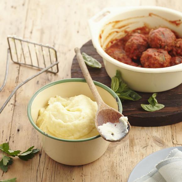 Italian Meatballs with Cheesy Parsnip Mash
