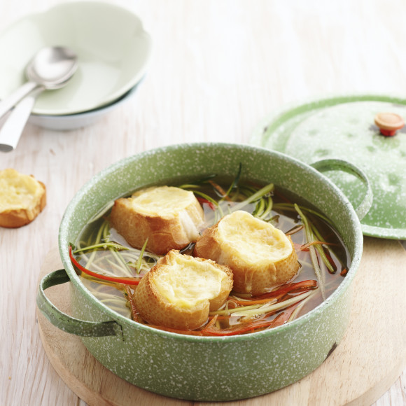 Fresh Vegetable Soup with Cheese Toasts