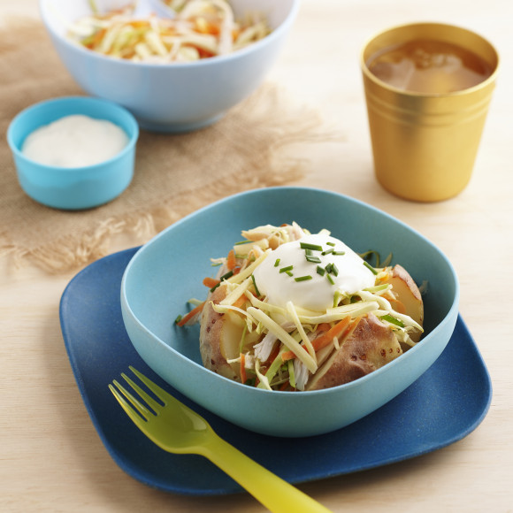 Baked Potatoes with Cheesy Chicken Coleslaw
