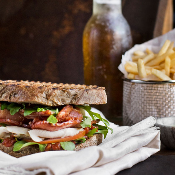 Crispy Bacon Toastie with Fennel and Lemon Poached Chicken