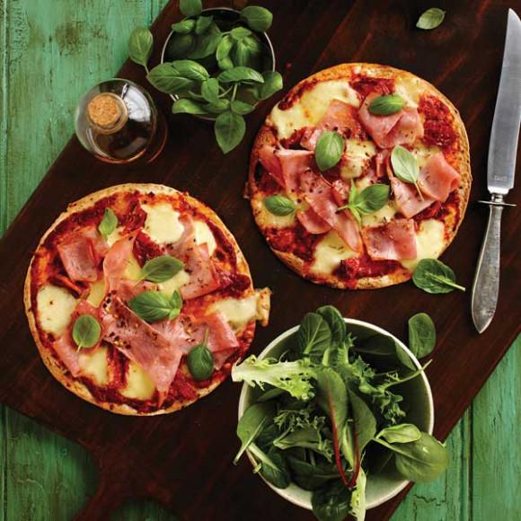 Ham and Bocconcini Tostadas