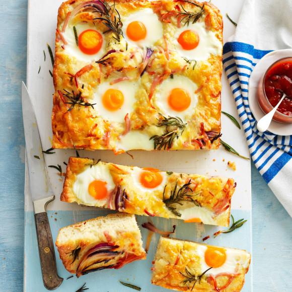 Bacon, Egg and Cheese Breakfast focaccia recipe
