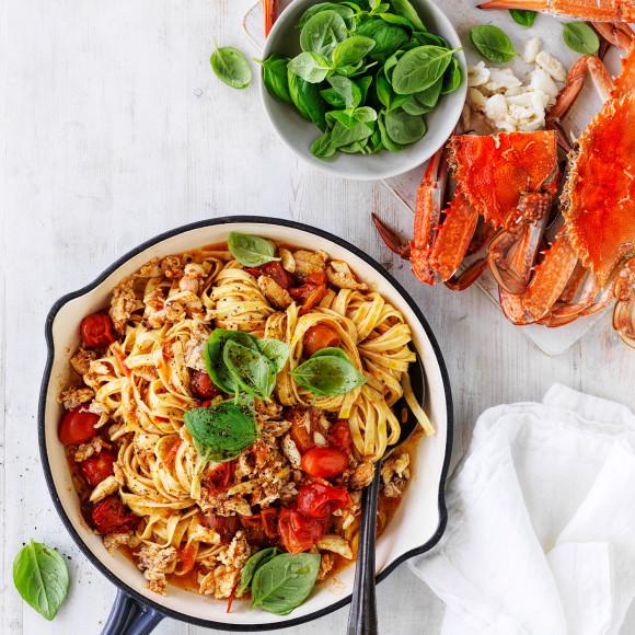 Crab linguine with chilli recipe