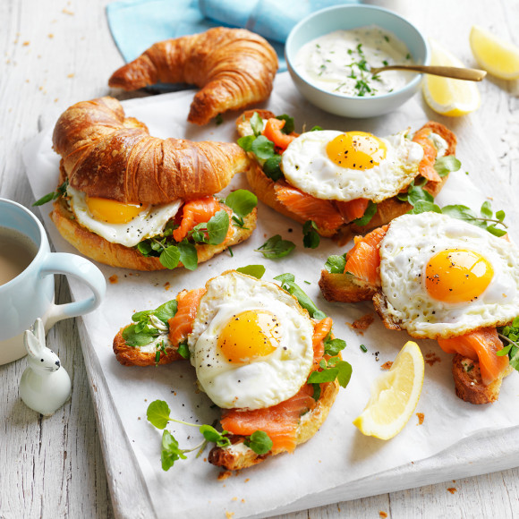 Savoury Egg and Smoked Trout Croissant perfect for brunch