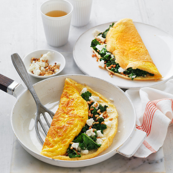 Souffle Omelettes with Wilted Kale, Goat's Cheese and Pine Nuts
