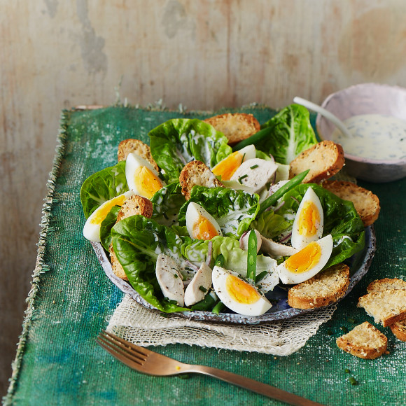 Egg and Chicken Caesar Salad Recipe