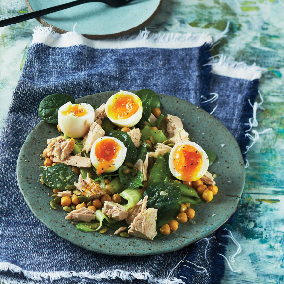 Egg, Tuna, and Chickpea Salad