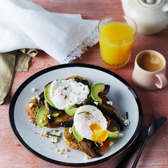 Poached Eggs with Sauted Field Mushrooms and Avocado