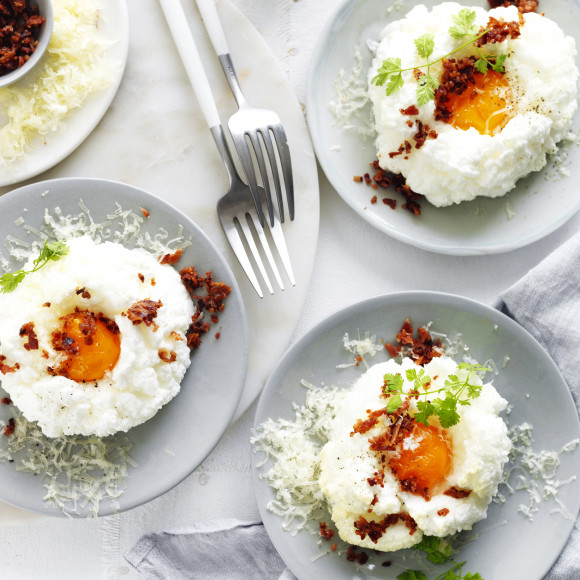 Cloud Eggs with Pancetta Crumbs and Gruyere