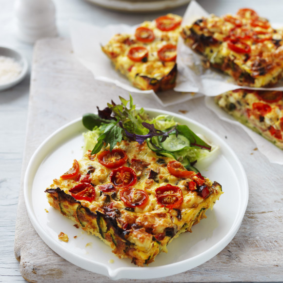 Vegetable And Ham Slice Recipe Myfoodbook Healthy Zucchini Slice