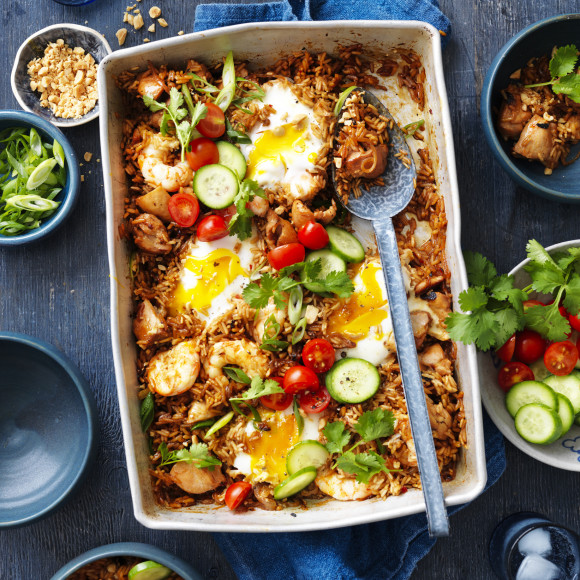 Nasi Goreng Tray Bake